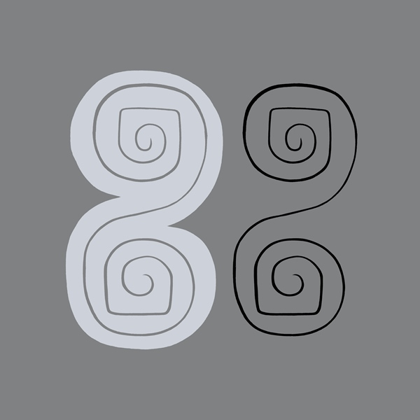 Graphic design from wood sculpture, c. 1996